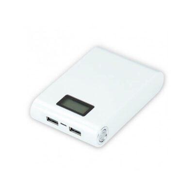 کیس پاوربانک دو خروجی USB سفید با LCD و برد 4 باتری 12000mAh