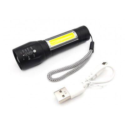 چراغ قوه جیبی زوم دار XPE+COB با چراغ بغل پلیسی